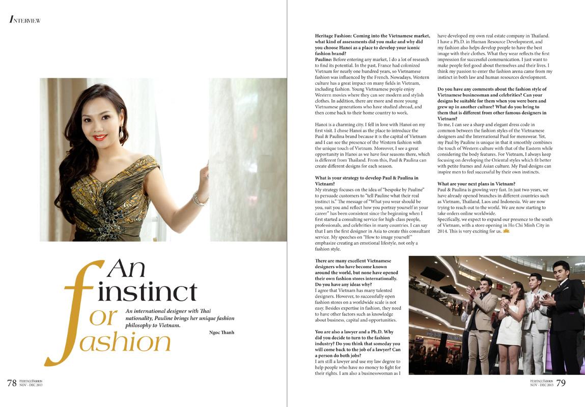 Heritage Fashion Magazine / Vietnam Airline Interview Nov 2013